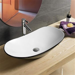 American Imaginations Oval Vessel Sink - 24.2-in - Black/White