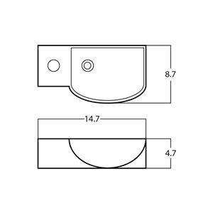 American Imaginations Rectangular Sink - 14.7-in - White