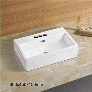 American Imaginations Rectangular Vessel Sink - 23.6-in - White