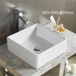 American Imaginations Vessel Square Sink - 15-in - White
