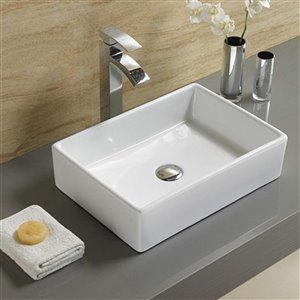 American Imaginations Vessel Rectangular Sink - 18.5-in - White