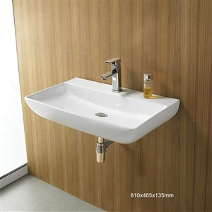 American Imaginations Wall-Mount Sink - 24-in - White