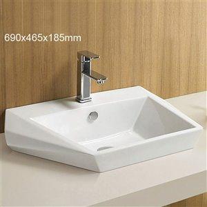 American Imaginations Rectangular Bathroom Sink - 27.2-in - White