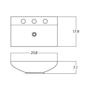 American Imaginations Vessel Rectangular Sink - 23.8-in - Black/White
