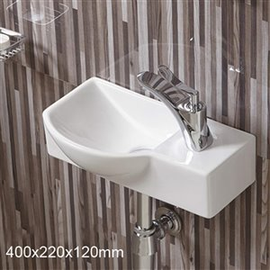 American Imaginations Wall-Mount Sink - 14.7-in - White