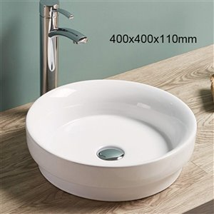 American Imaginations Round Vessel Sink - 15.7-in -White