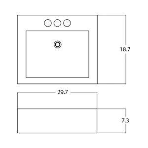 American Imaginations Rectangular Vessel Sink - 29.7-in - White