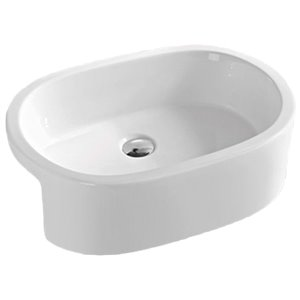 American Imaginations Oval Vessel Sink - 24.8-in - White