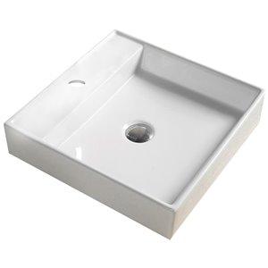American Imaginations Vessel Square Sink - 11-in - White