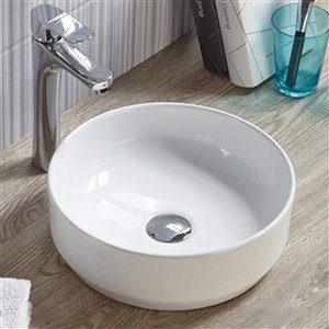 American Imaginations Vessel Round Sink - 14-in - White
