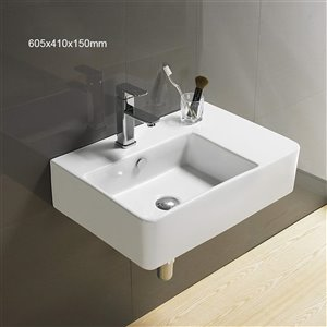 American Imaginations Wall-Mount Sink - 23.8-in - White