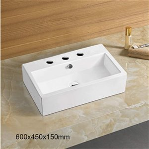 American Imaginations Bathroom Sink - 23.6-in - White