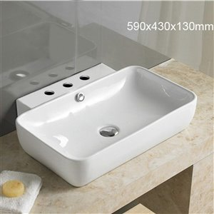 American Imaginations Vessel Square Sink - 23.2-in - White