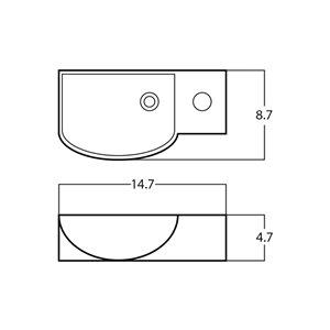 American Imaginations Rectangular Sink - 14.7-in - Matt White