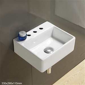 American Imaginations Wall-Mount Bathroom Sink - 13-in - White