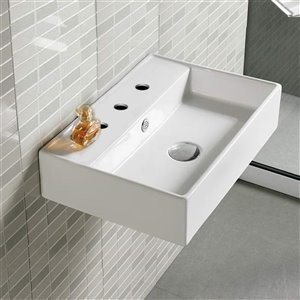 American Imaginations Wall-Mount Rectangular Sink - 19.7-in - White