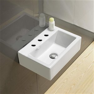 American Imaginations Wall-Mount Sink - 16.7-in - White