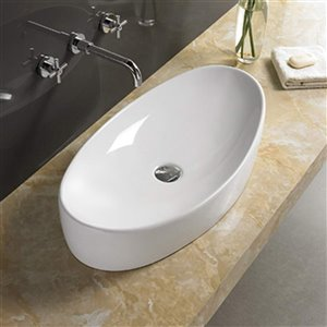 American Imaginations Oval Vessel Sink - 25.6-in - White