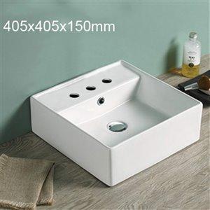 American Imaginations Square Bathroom Sink - 16-in - Matt White