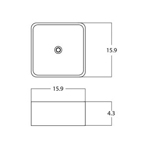 American Imaginations Vessel Square Sink - 15.9-in - White