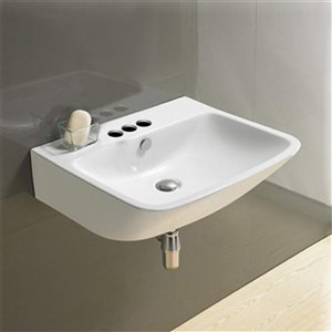 American Imaginations Wall-Mount Rectangular Sink - 21.5-in - White