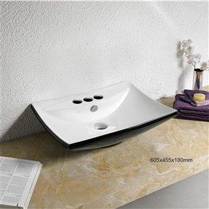 American Imaginations Vessel Bathroom Sink - 23.8-in - Black/White