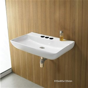 American Imaginations Wall-Mount Rectangular Sink - 24-in - White