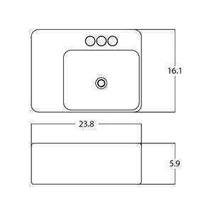 American Imaginations Rectangular Sink - 23.8-in - White