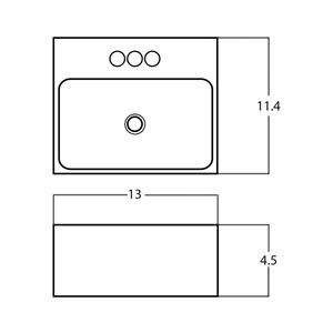 American Imaginations Vessel Rectangular Sink - 13-in - White