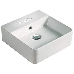 American Imaginations Vessel Square Sink - 16-in - Matt White