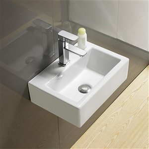 American Imaginations Wall-Mount Rectangular Sink - 16.7-in - White