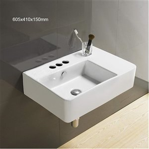 American Imaginations Wall-Mount Bathroom Sink - 23.8-in - White