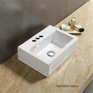 American Imaginations Vessel Rectangular Sink - 16.7-in - White