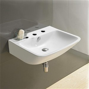 American Imaginations Wall-Mount Bathroom Sink - 21.5-in - White