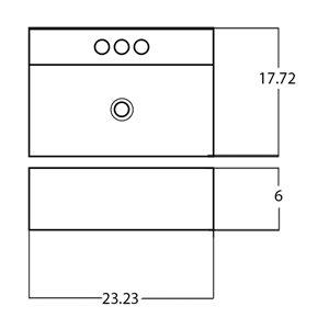 American Imaginations Vessel Rectangular Sink - 23.23-in - White