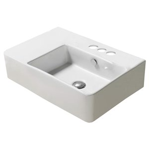 American Imaginations Wall-Mount Rectangular Sink - 23.8-in - White