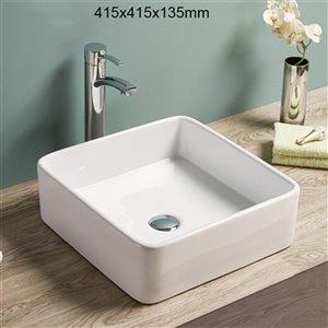 American Imaginations Vessel Square Sink - 16.3-in - White