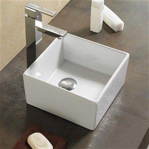 American Imaginations Vessel Square Sink - 10.6-in - White