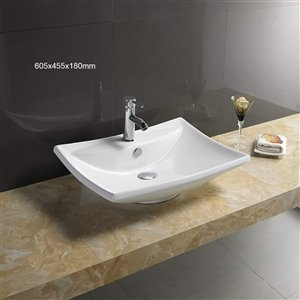 American Imaginations Vessel Sink for 1 Hole Faucet - 23.8-in - White