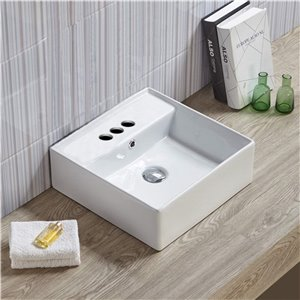 American Imaginations Vessel Square Sink - 16-in - White