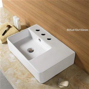 American Imaginations Vessel Bathroom Sink - 23.8-in - White