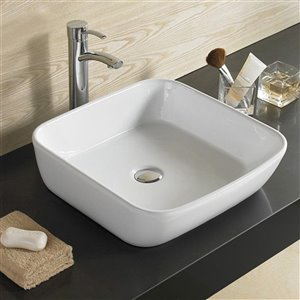American Imaginations Vessel Rectangular Sink - 17.7-in - White