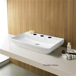 American Imaginations Rectangular Bathroom Sink - 28-in - White