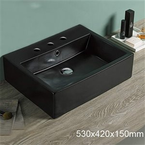 American Imaginations Bathroom Sink - 20.9-in - Matt Black