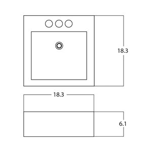 American Imaginations Vessel Square Sink - 18.3-in - White