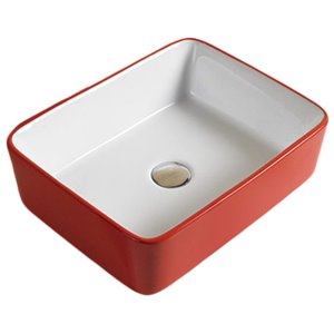 American Imaginations Vessel Rectangular Sink - 18.9-in - Red/White