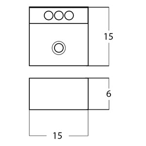American Imaginations Square Vessel Sink - 15-in - White