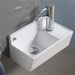 American Imaginations Wall-Mount Sink- 14.2-in - White
