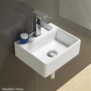 American Imaginations Wall-Mount Sink - 13-in - White