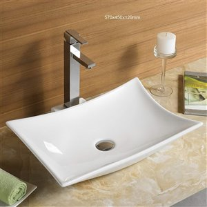 American Imaginations Rectagular Vessel Sink - 22.4-in - White
